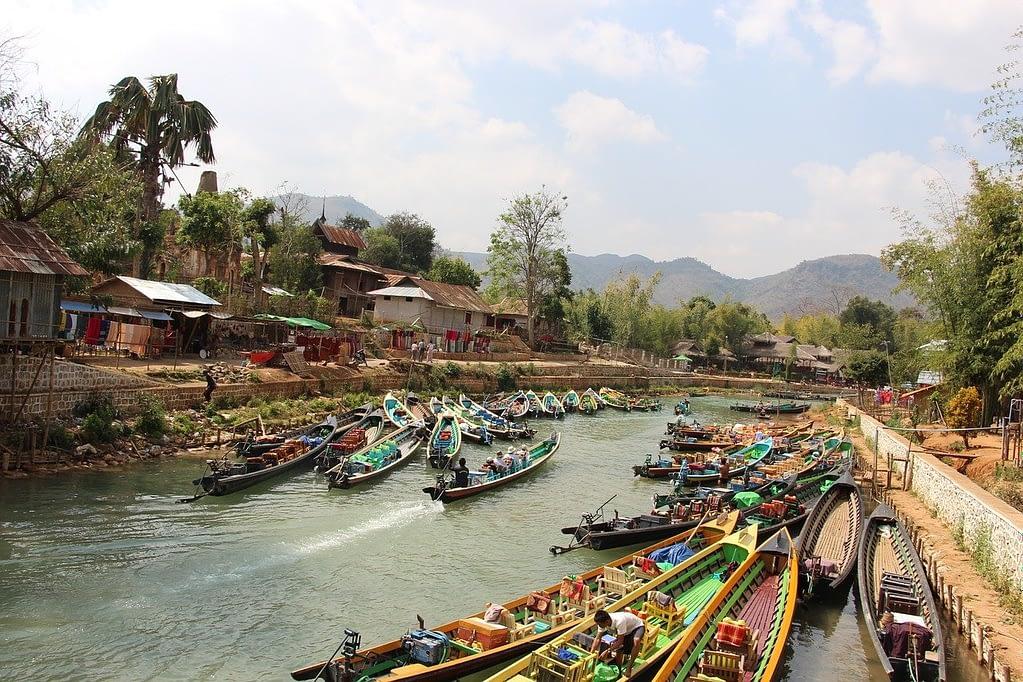Docked boats on Inle Lake, Myanmar