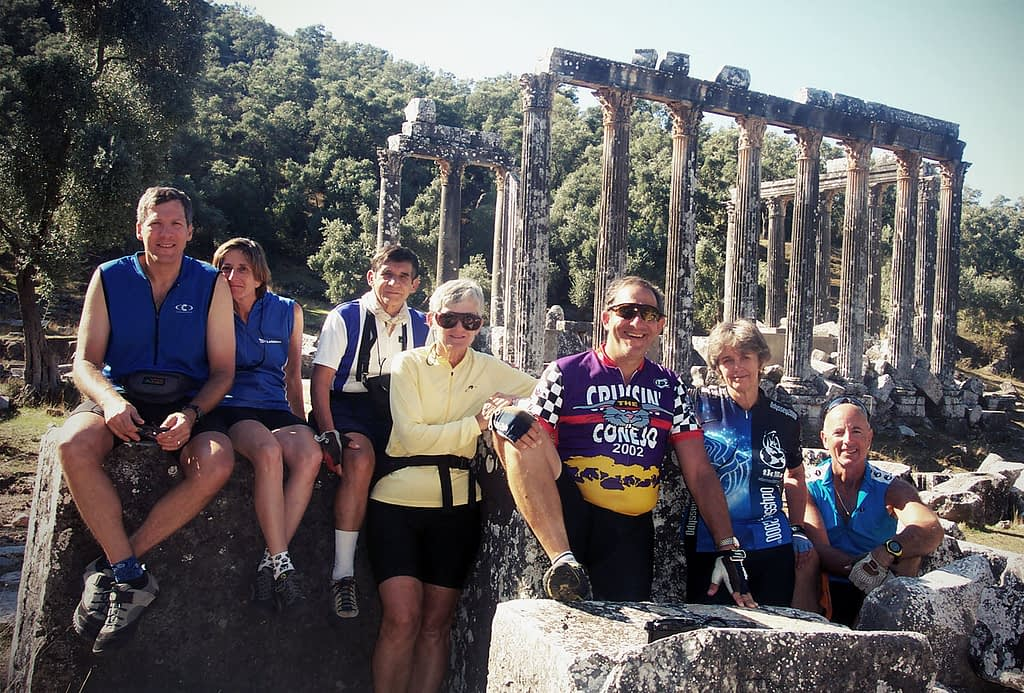 Cycling tour group at Priene, Turkey