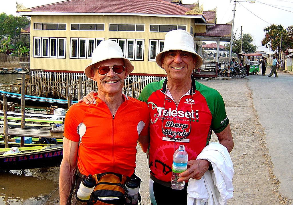 Cyclists at Inle Lake, Myanmar