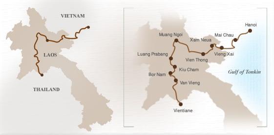 Cycling tour map of Laos