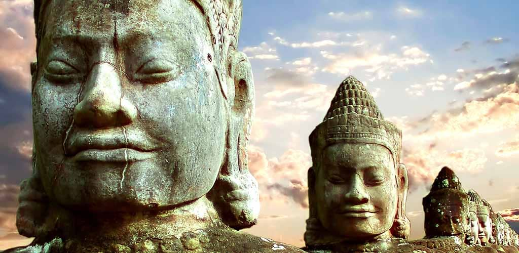 Stone guardians at Angkor Thom South Gate
