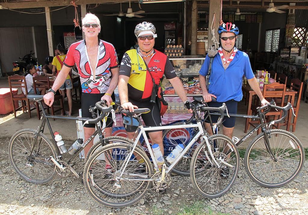 Cyclists taking break in Laos