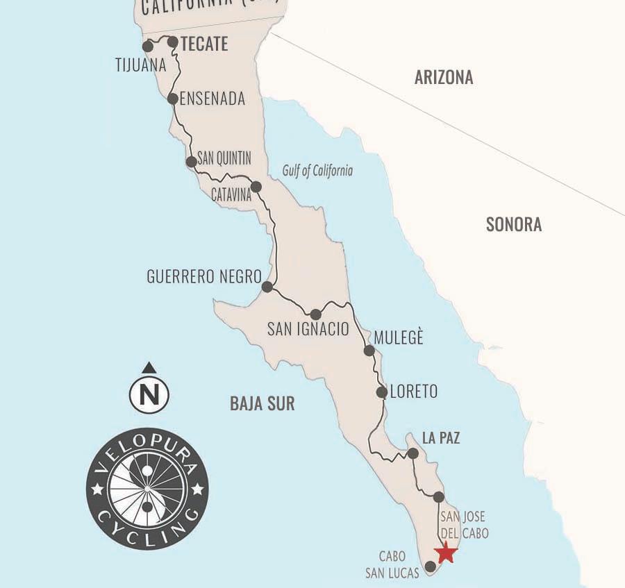 Bicycle tour map of Baja, Mexico