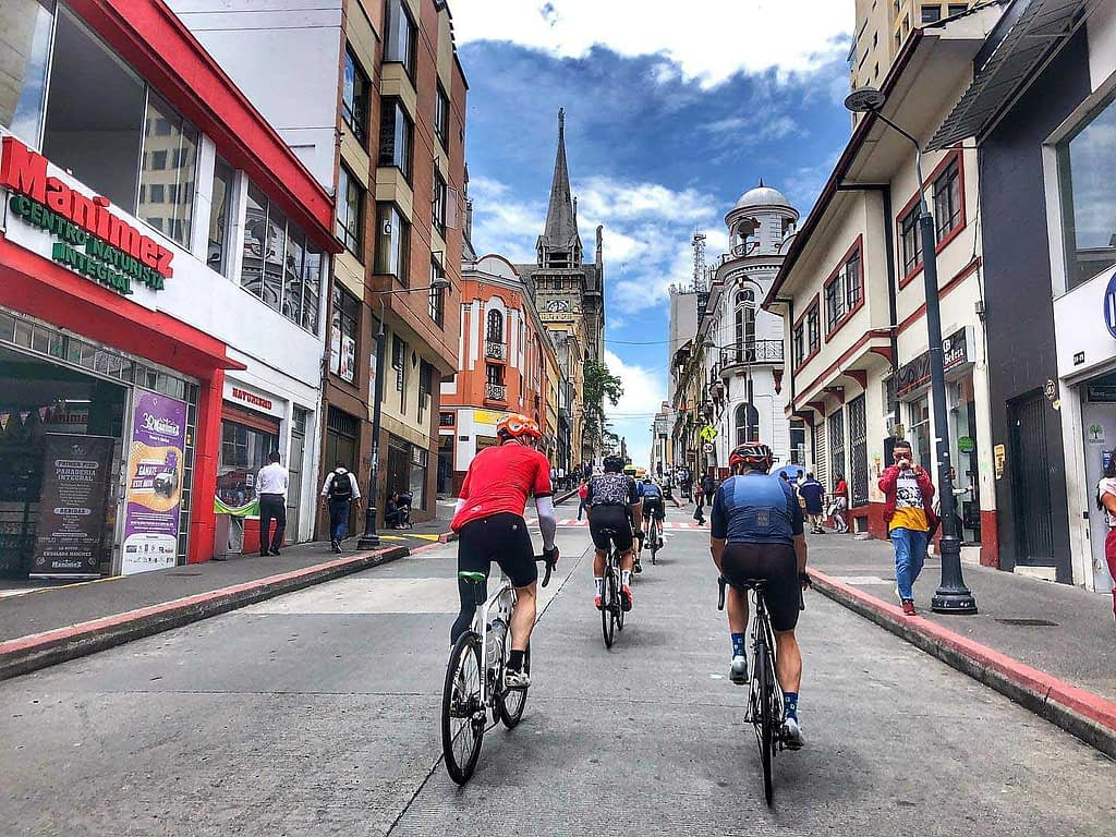 Biking tour in old town of Colombia